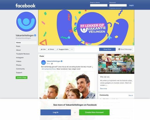 vakantieveilingen.nl facebook
