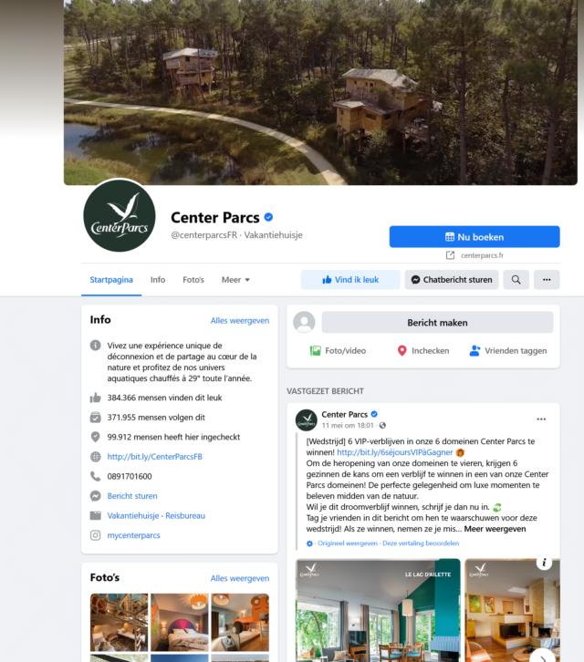 facebook center parcs