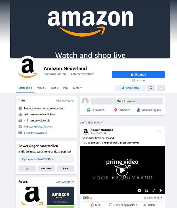 Facebook account van Amazon