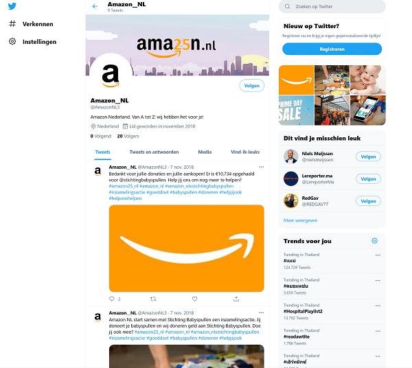 Twitter account Amazon