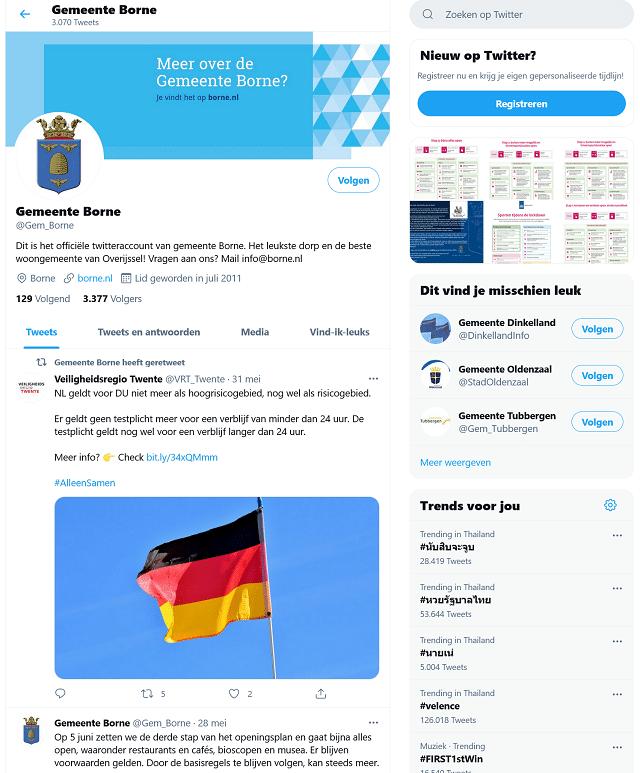 Contact via Twitter Gemeente Borne