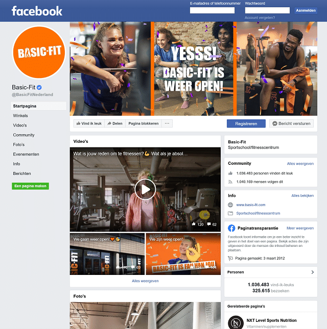 facebook contact met basic-fit