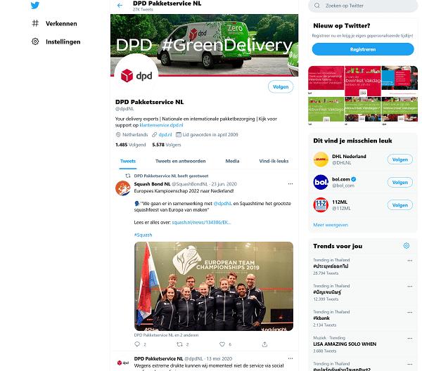 Twitter account van DPD