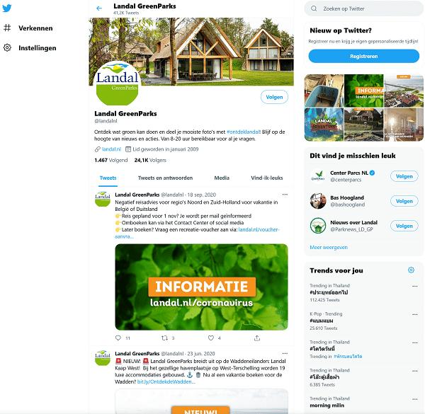 landal greenparks twitter