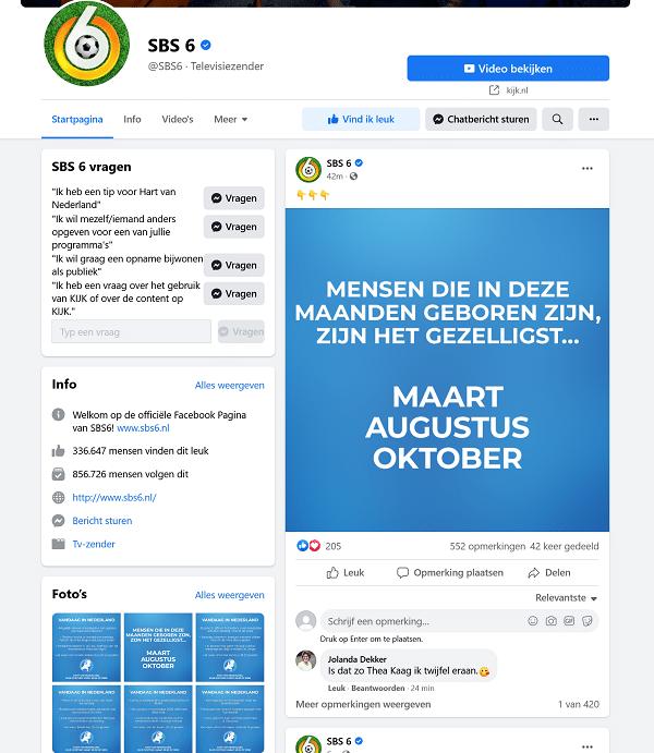 sbs6 contact via facebook