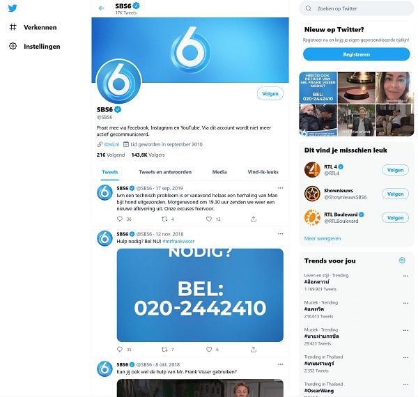 sbs6 contact via twitter