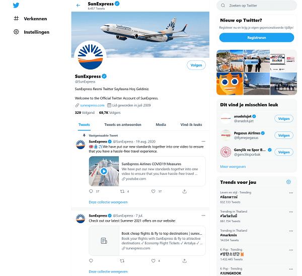 sun express klantenservice op twitter