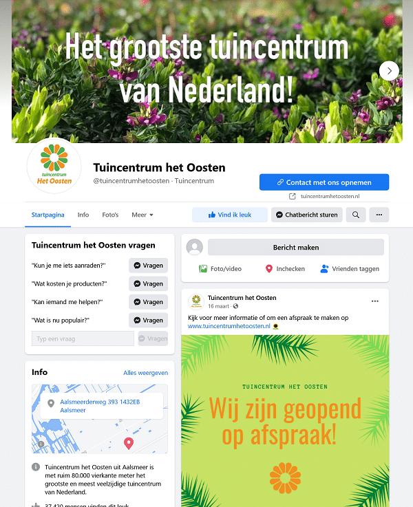 tuincentrum het oosten facebookaccount