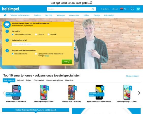 website belsimpel.nl